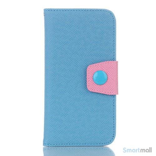 Ioejnefaldende laeder-pung til iPhone 6 med ekstra lommer - Pink - Blaa