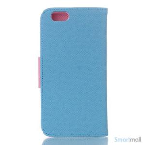 Ioejnefaldende laeder-pung til iPhone 6 med ekstra lommer - Pink - Blaa2