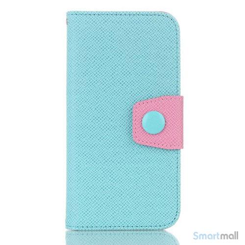 Ioejnefaldende laeder-pung til iPhone 6 med ekstra lommer - Pink - Cyan