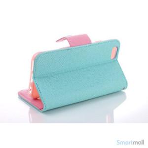 Ioejnefaldende laeder-pung til iPhone 6 med ekstra lommer - Pink - Cyan3