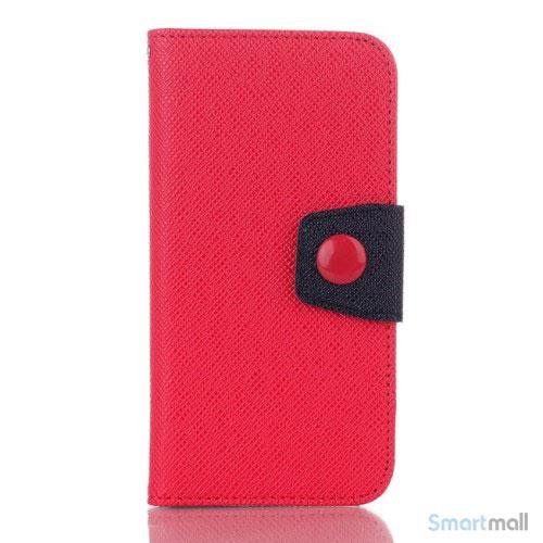 Ioejnefaldende laeder-pung til iPhone 6 med ekstra lommer - Sort - Roed