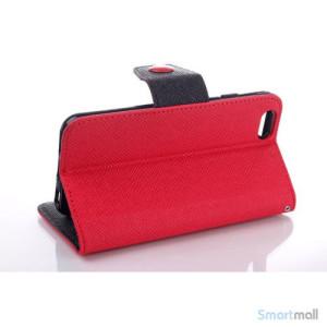 Ioejnefaldende laeder-pung til iPhone 6 med ekstra lommer - Sort - Roed3