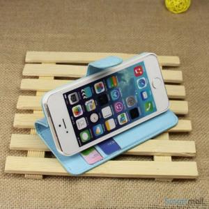 Klassisk laederpung til iPhone 5 - 5s, med standfunktion - Blaa3