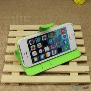 Klassisk laederpung til iPhone 5 - 5s, med standfunktion - Groen4