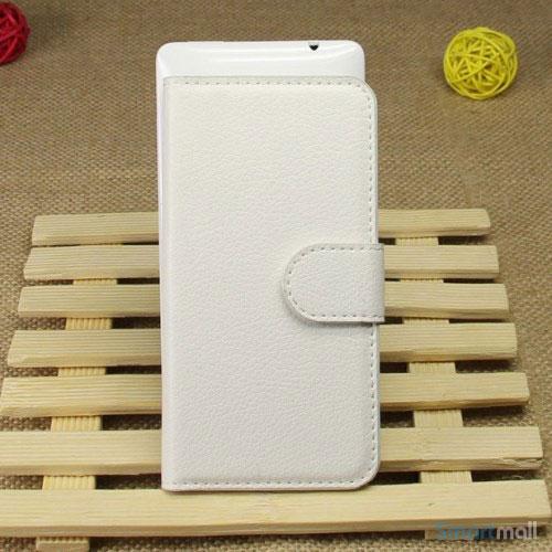 Klassisk laederpung til iPhone 5 - 5s, med standfunktion - Hvid