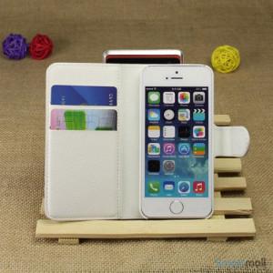 Klassisk laederpung til iPhone 5 - 5s, med standfunktion - Hvid3