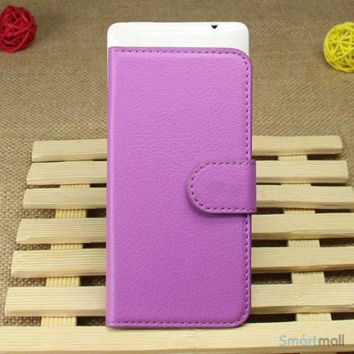 Klassisk laederpung til iPhone 5 - 5s, med standfunktion - Lilla