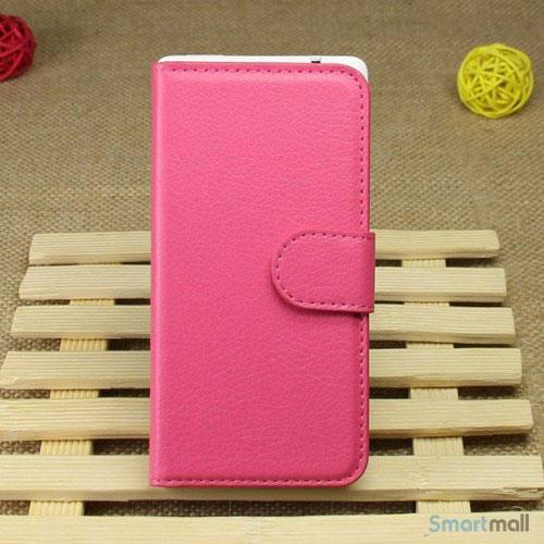 Klassisk laederpung til iPhone 5 - 5s, med standfunktion - Rose