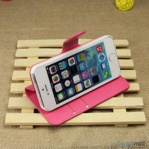 Klassisk laederpung til iPhone 5 - 5s, med standfunktion - Rose4