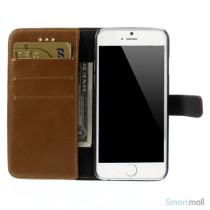 Klassisk laederpung til iPhone 6 med plads til tre kreditkort - Brun6
