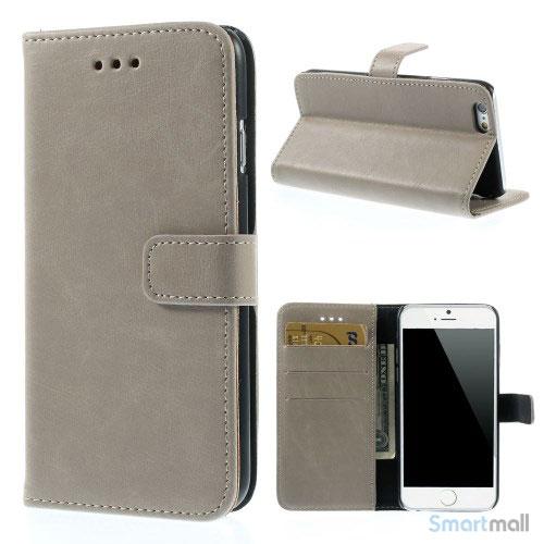 Klassisk laederpung til iPhone 6 med plads til tre kreditkort - Graa