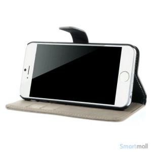 Klassisk laederpung til iPhone 6 med plads til tre kreditkort - Graa4