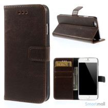 Klassisk læderpung til iPhone 6/6S med plads til tre kreditkort - Kaffe