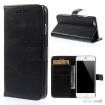 Klassisk læderpung til iPhone 6/6S med plads til tre kreditkort - Sort