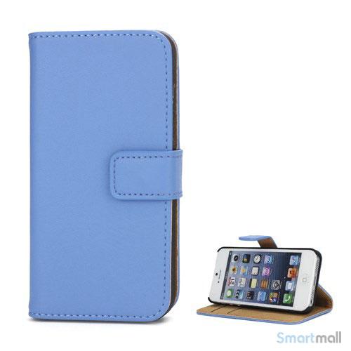 Klassisk pung i aegte laeder til iPhone 5 og 5s - Blaa