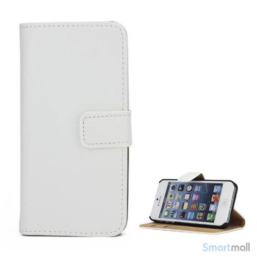 Klassisk pung i aegte laeder til iPhone 5 og 5s - Hvid