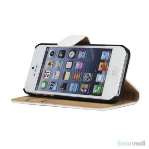 Klassisk pung i aegte laeder til iPhone 5 og 5s - Hvid4