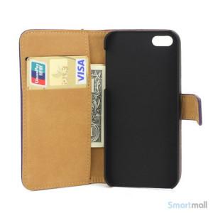 Klassisk pung i aegte laeder til iPhone 5 og 5s - Lilla5