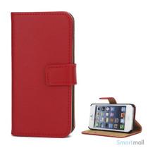 Klassisk pung i ægte læder til iPhone 5 og 5s - Rød