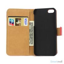 Klassisk pung i aegte laeder til iPhone 5 og 5s - Roed5