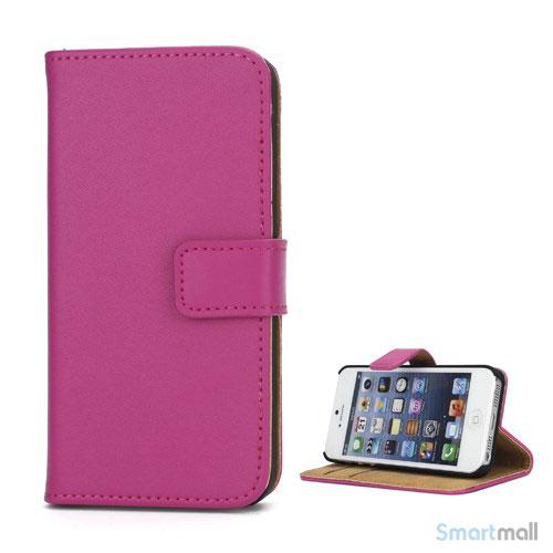 Klassisk pung i aegte laeder til iPhone 5 og 5s - Rose