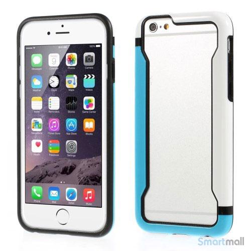Laekker bumper til iPhone 6, udfoert i hybrid-plast - Blaa- Hvid