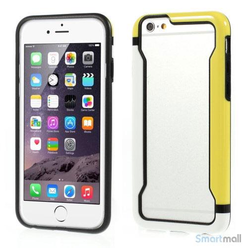 Laekker bumper til iPhone 6, udfoert i hybrid-plast - Hvid - Gul