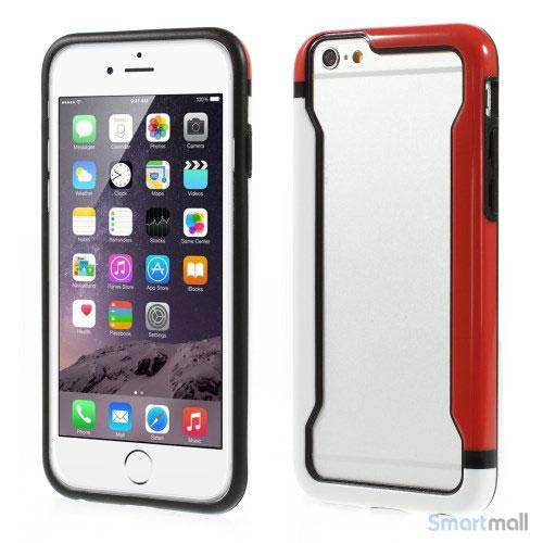 Laekker bumper til iPhone 6, udfoert i hybrid-plast - Hvid -Roed