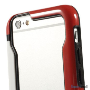 Laekker bumper til iPhone 6, udfoert i hybrid-plast - Hvid -Roed6