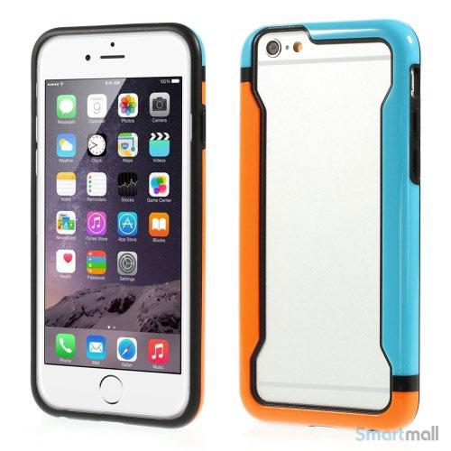 Laekker bumper til iPhone 6, udfoert i hybrid-plast - Orange - Blaa