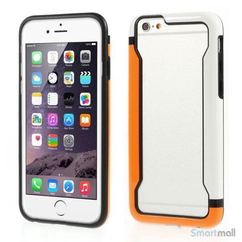 Laekker bumper til iPhone 6, udfoert i hybrid-plast - Orange - Hvid