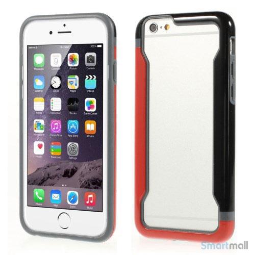 Laekker bumper til iPhone 6, udfoert i hybrid-plast - Rød-Sort