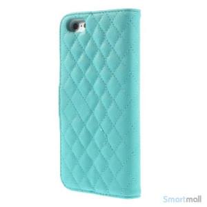 Laekker feminin iPhone 6 pung i tykt laeder med rhombe-syninger - Blaa