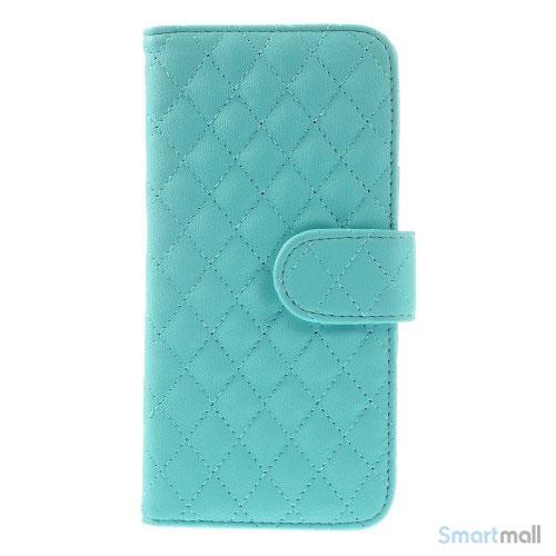 Laekker feminin iPhone 6 pung i tykt laeder med rhombe-syninger - Blaa6