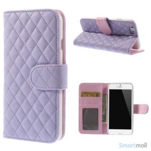 Laekker feminin iPhone 6 pung i tykt laeder med rhombe-syninger - Lilla7