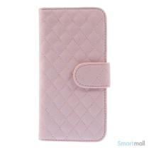 Lækker feminin iPhone 6/6S pung i tykt læder med rhombe-syninger - Pink