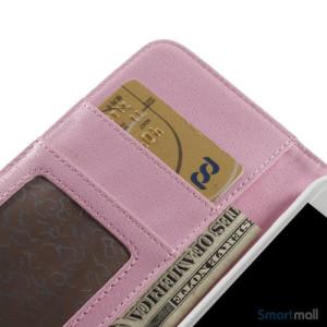 Laekker feminin iPhone 6 pung i tykt laeder med rhombe-syninger - Pink6
