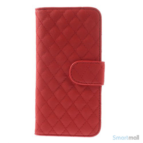 Laekker feminin iPhone 6 pung i tykt laeder med rhombe-syninger - Roed