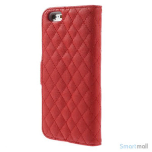 Laekker feminin iPhone 6 pung i tykt laeder med rhombe-syninger - Roed2
