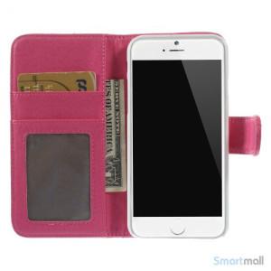 Laekker feminin iPhone 6 pung i tykt laeder med rhombe-syninger - Rose5