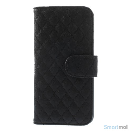 Laekker feminin iPhone 6 pung i tykt laeder med rhombe-syninger - Sort2