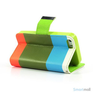 Multifarvet pung til iPhone 5 og iPhone 5s - Blaa - Groen - Orange5