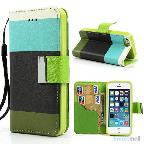 Multifarvet pung til iPhone 5 og iPhone 5s - Cyan - Sort - Groen