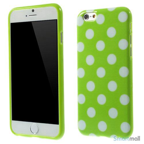 Polkaprikket cover til iPhone 6 i laekker bloed TPU-plast - Hvid - Groen