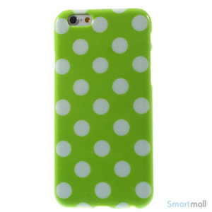 Polkaprikket cover til iPhone 6 i laekker bloed TPU-plast - Hvid - Groen3