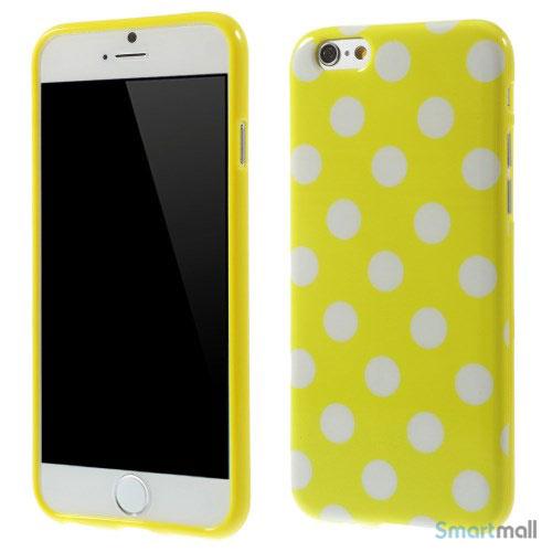 Polkaprikket cover til iPhone 6 i laekker bloed TPU-plast - Hvid - Gul