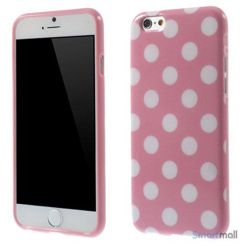 Polkaprikket cover til iPhone 6 i laekker bloed TPU-plast - Hvid - Pink
