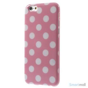 Polkaprikket cover til iPhone 6 i laekker bloed TPU-plast - Hvid - Pink2