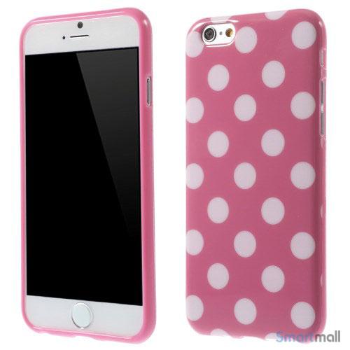 Polkaprikket cover til iPhone 6 i laekker bloed TPU-plast - Hvid - Rose