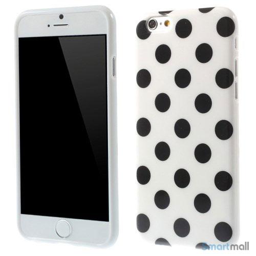 Polkaprikket cover til iPhone 6 i laekker bloed TPU-plast - Hvid - Sort